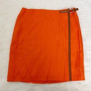 LAUREN RALPH LAUREN 100% linen orange skirt